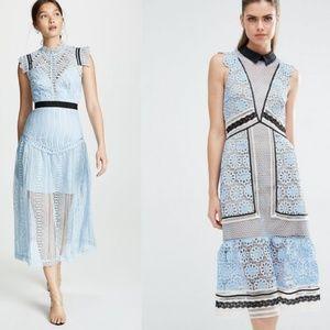 Retro Parisian Vintage Sky Blue Floral Lace Dress